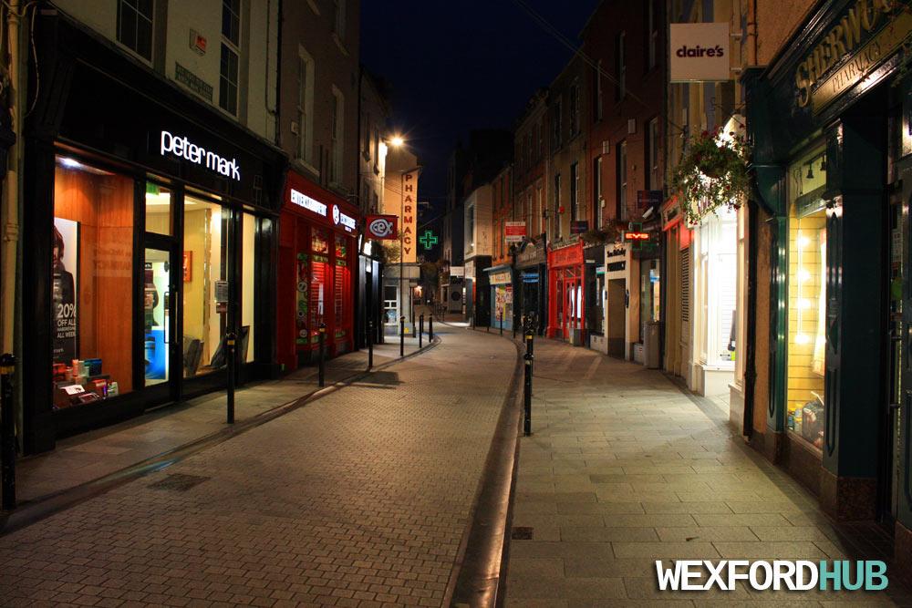 North Main Street at night.