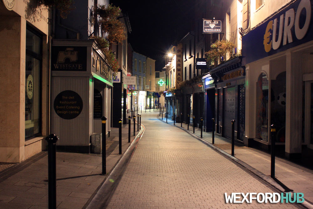 Another night time shot of Wexford's town centre. To the left, you can see Westgate Design.