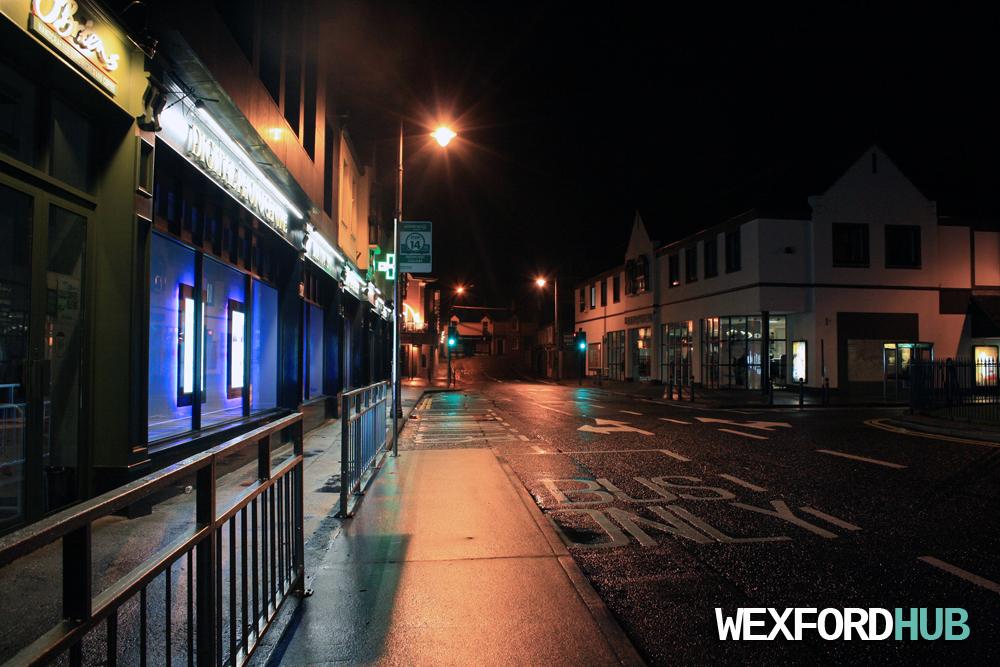 Redmond Square at night time.