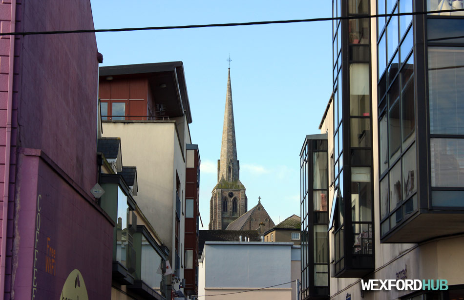 Rowe Street Church, as seen from Wexford's quay front.